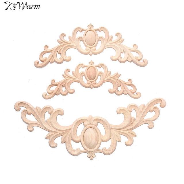 Kiwarm elegante sin pintar flor madera de roble tallado Decal onlay ...
