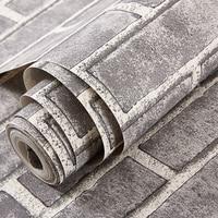 Self Adhesion Wallpaper 3D Simulation Brick Grain Pattern Stickers Decal Wall Paper Roll Grey Brick/Red Brick