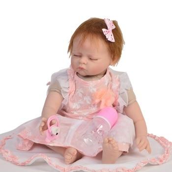 22inch Boneca Reborn Silicone Vinyl Dolls Reborn Bebe Realista 55cm new design handamde Lifelike Bebe birthday gifts hot sale