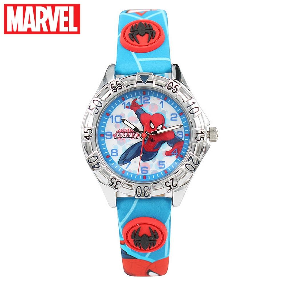 Marvel Avengers Disney Boy Spider-Man Rojo Negro Azul Niño PU Band - Relojes para niños