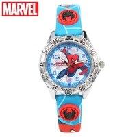 Marvel Avengers Disney Ragazzo Spider-Man Rosso Nero Blu Kid Fascia DELL'UNITÀ di elaborazione Rotonda Del Quarzo Del Giappone Del Fumetto Dei Bambini Mano Luminosa orologi 81035