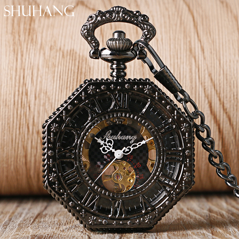 лучшая цена SHUHANG Archaize Black Fashion Skeleton Steampunk Pocket Watch Mechanical Hand Wind Roman Numerals Dial Clock Relogio De Bolso