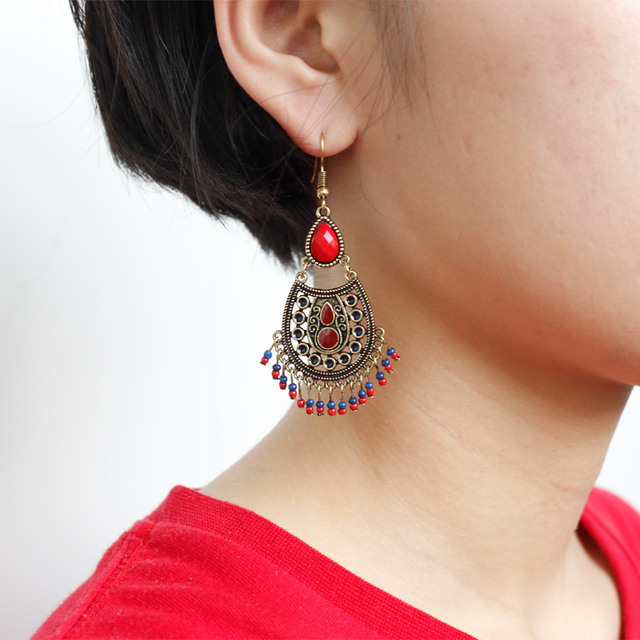 Bohemian Vintage Water Drop Earrings Chandelier Stone Earrings ...