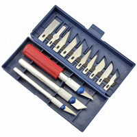 13pcs Set Hobby Knife Set Gravar Burin Carving Knife Carving Tools Set With 3 Handles Sculpture