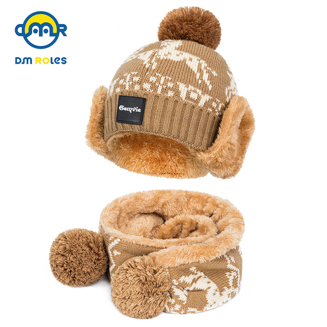 cb6aea546d4 DMROLES 2pcs lot Baby Winter Hat   Scarf Baby Winter Cap Children Warm Scarf  For