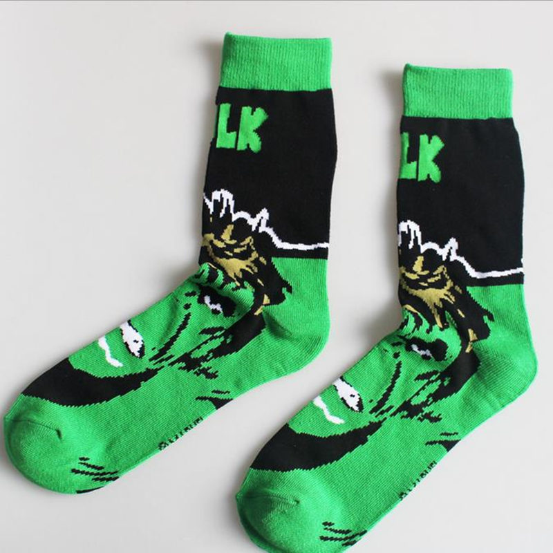 Harajuku Mens Socks Cotton Cute Super Hero Superman Batman Hulk Spiderman Cosplay happy Socks Superman socks gifts for men in Men 39 s Socks from Underwear amp Sleepwears