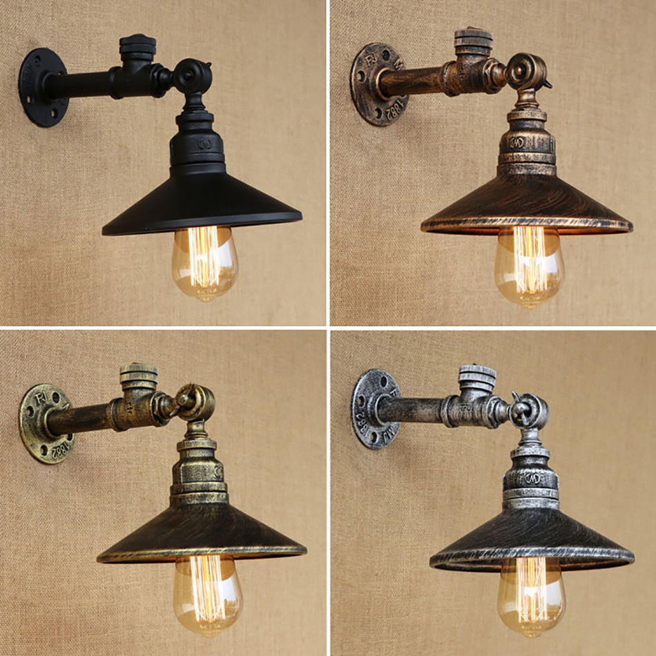 Industrial loft iron rust water pipe retro wall lamp for Auto decoration parts