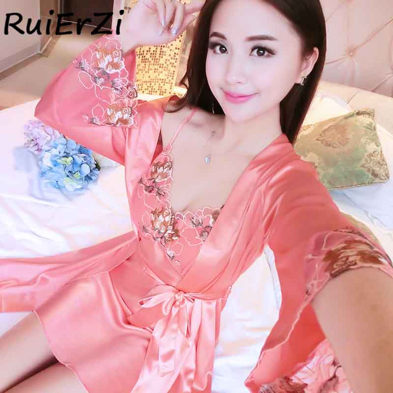 Fashion New Arrival Silk Robe & Gowns Set Free Sexy Lace Embroidery Print Two Piece Suspender Sleepwear + Bathing Robe Hot