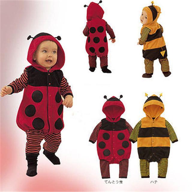 Super Bonito Bebês Outono/Inverno joaninha Dos Desenhos Animados Com Capuz Macacão Bebês Crianças Quente/Bee Cosplay Fantasia Romper Kawaii 3-24 m