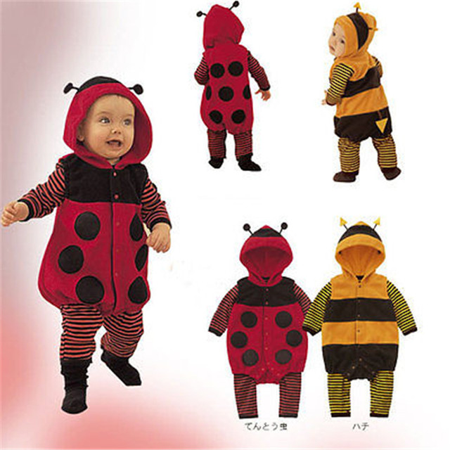 Super Cute Babies Autumn/Winter Cartoon Hooded Rompers Babies Kids Warm ladybug/Bee Cosplay Costume Fancy Romper Kawaii 3-24m