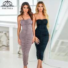 Parthed Black Party Dress Women Off Shoulder Strapless Sexy Bodycon Dress Summer 2019 New Ruched Long Dress Club Wear Clothing womens dress new a0rrival 2017 sexy long butterfly sleeve off shoulder strapless black knitted mini dress women s clothing sd039