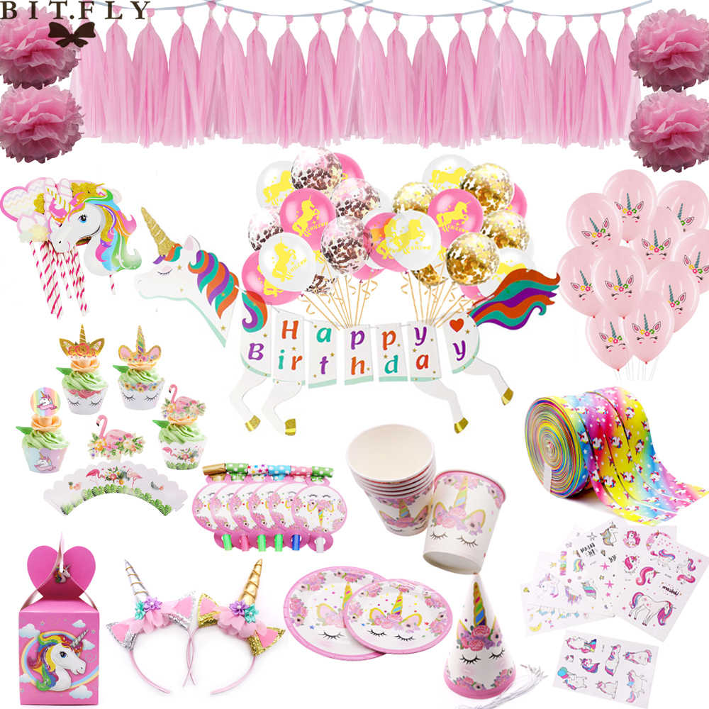 Unicorn Theme Party Supply Disposable Tableware Set Confetti Air Balloon Happy Birthday Baby Shower Wedding Festival Party Decor