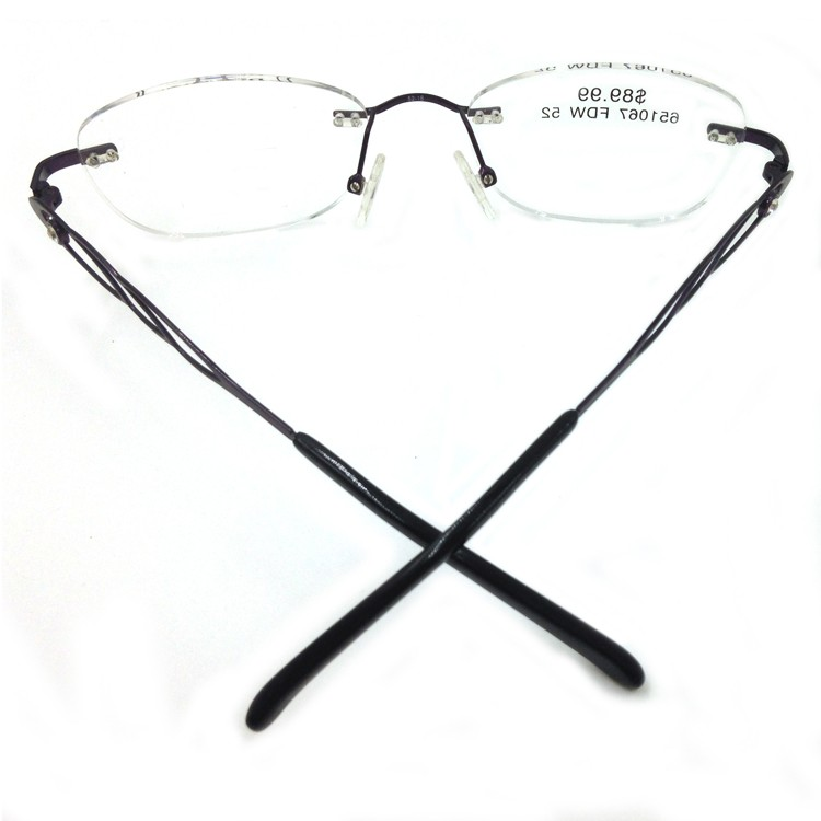 Titanium Memory Flexible Rimless Glasses Frame Women (7)