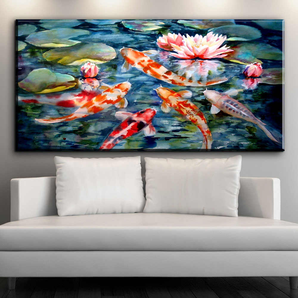 ZZ1338 chinese canvas wall art koi fish lotus canvas pictures abstract canvas oil art painting for livingroom bedroom decoration