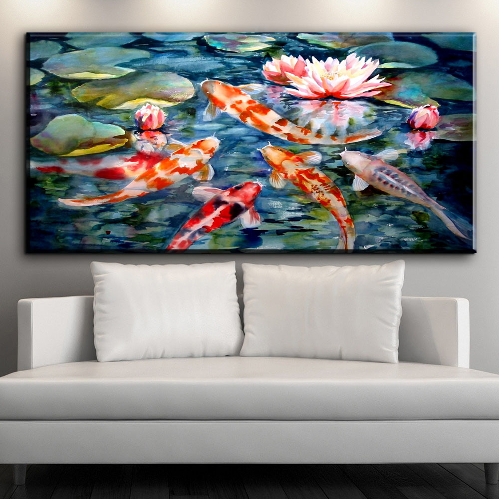 Zz1338 chinese canvas wall art koi fish lotus canvas for Koi prints canvas