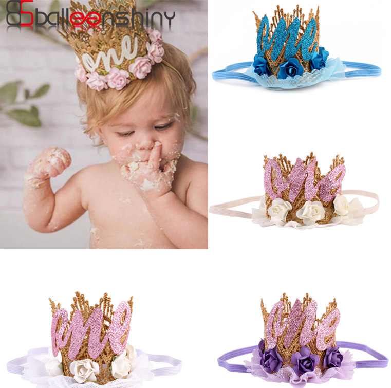 BalleenShiny New Toddler Kids Baby 1st Birthday Headwear Glitter Crown Flower Head Hair Band Party Headwear For Boys&Girls
