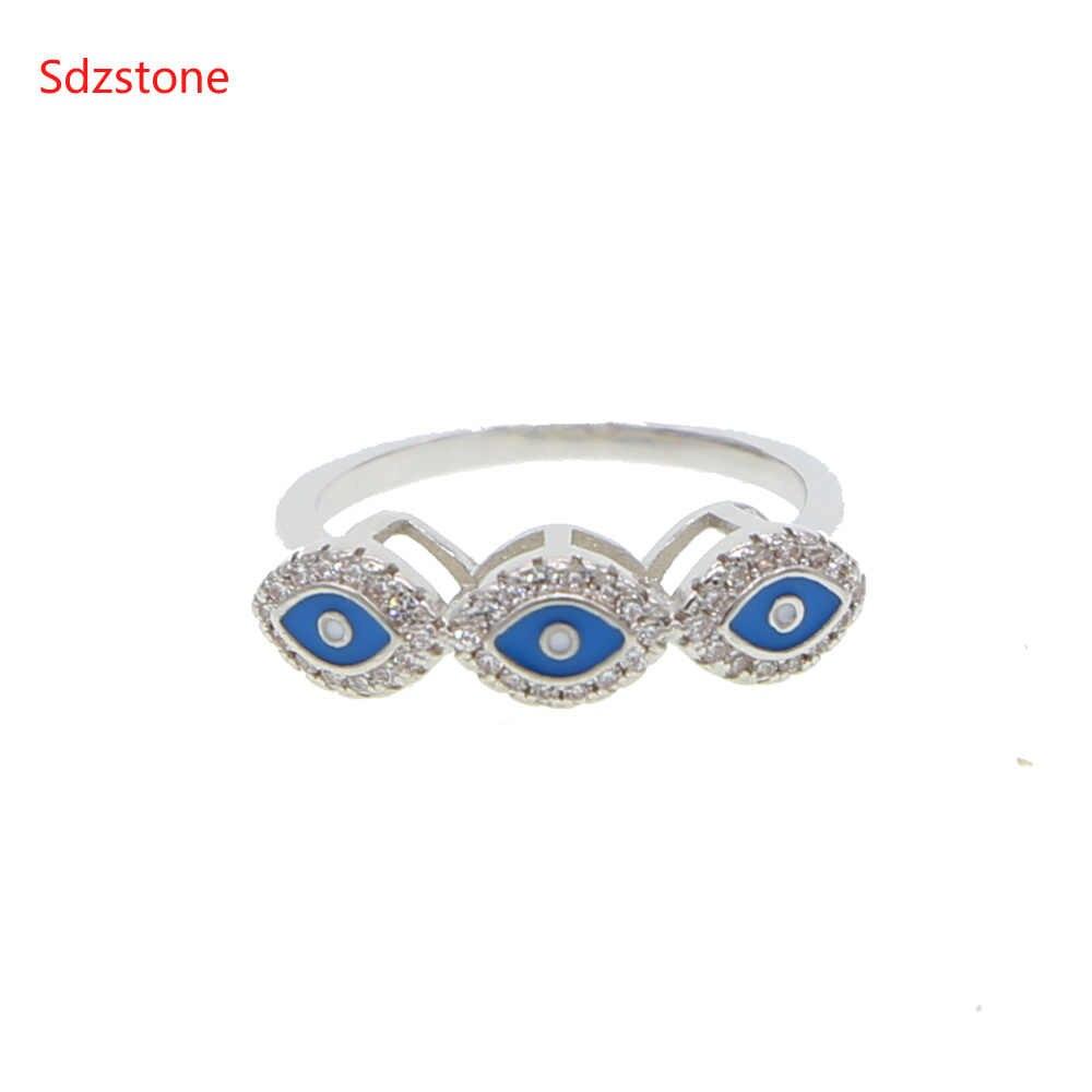 2019 แหวนผู้หญิงสีฟ้าตุรกีเคลือบ eye แหวนเรขาคณิต Anillos Evil Eye Us ขนาดแฟชั่นที่ละเอียดอ่อนที่สวยงามแหวน