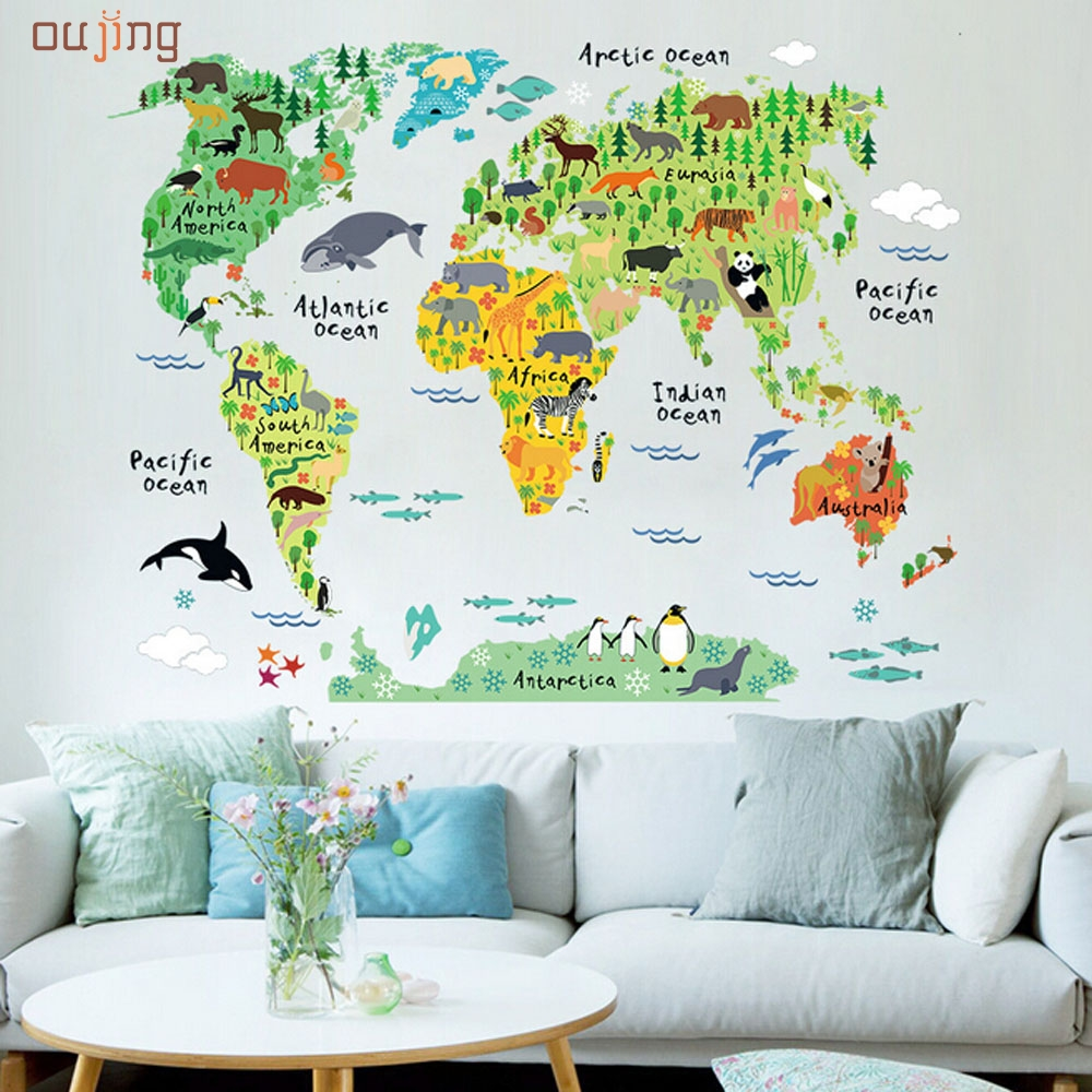 2017 Homey Design Animal World Map Removable Decal Art Mural Home Decor Wall  Stickers Fine Textile Part 54