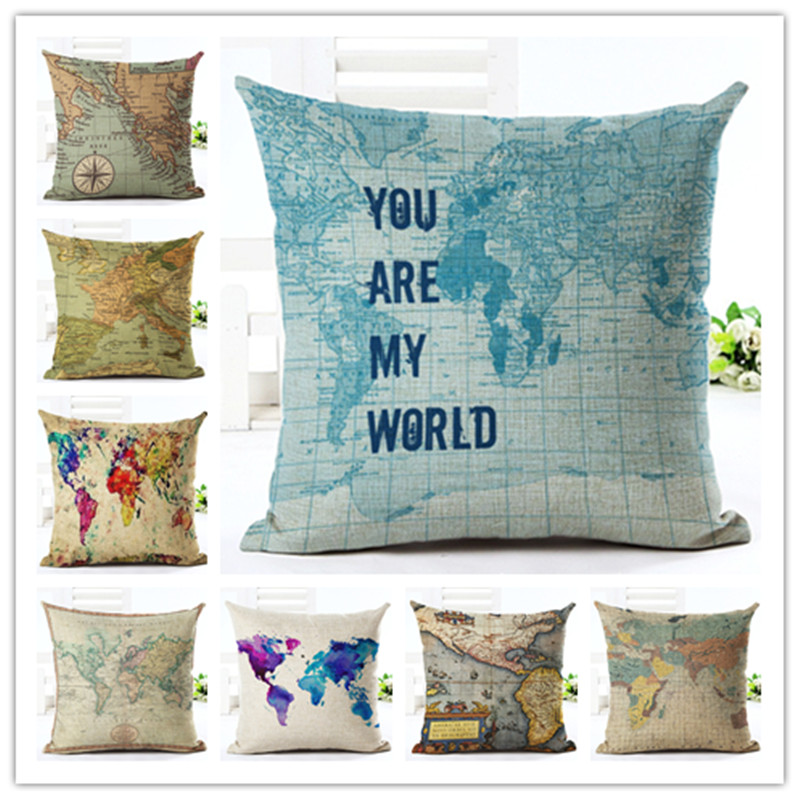 Map  Style 45*45cm Square Home Decorative Pillow Music Note Printed Throw Pillows Car Home Decor Cushion Cojines