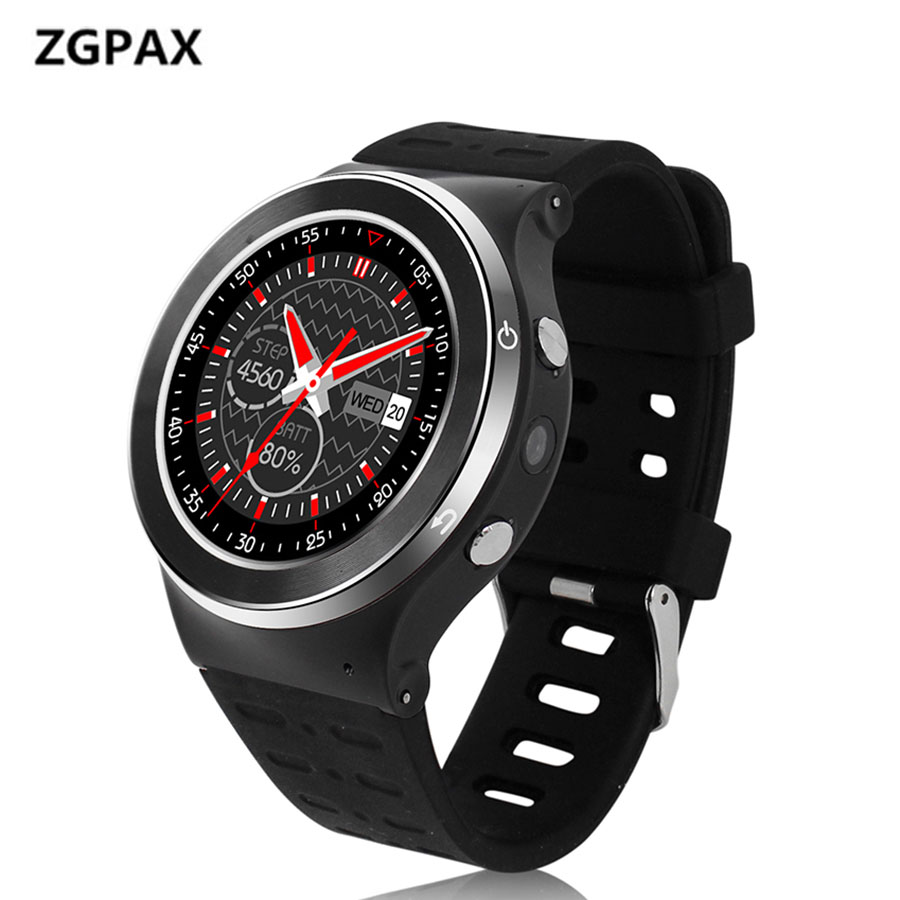 Original ZGPAX 3G Wifi Smartwatch Pedometer Heart Rate Monitor Bluetooth Smart Watch With HD Camera Support SIM Card Wristwatch 1 6 screen stainless steel bluetooth 3 0 sim camera hd dv recording pedometer 4g memory smart watch phone security msn p20