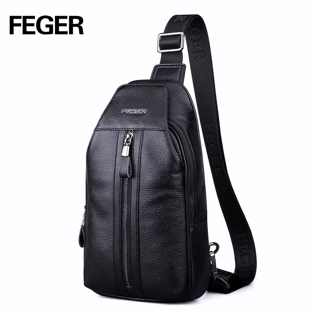 все цены на FEGER top grain leather men's chest pack teens boys with cell phone new arrival design brand fashion leisure handsome chest bag онлайн