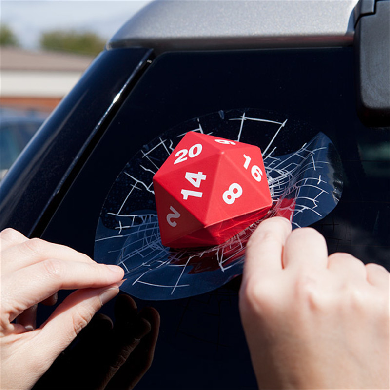 Creative Dice Crashing Glass Design 3D Car Stickers For