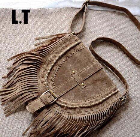 2017 Women Fringed Messenger Bag Brown Faux Suede Fringe Tassel Boho Hippie Gypsy Bohemian Tribal Ibiza Style Cross body Bag