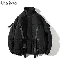 Una Reta Chaqueta de invierno para hombre, abrigo informal, estilo Parka de talla grande, estilo Hip hop
