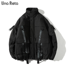 Una Reta חורף מעיל מעילי גברים החדש מקרית מעיל רוח מעילי Mens Parka בתוספת גודל היפ הופ תחבושת עיצוב מעילי Man streetwear