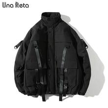 Una Reta Winter Jacket Coats Men New Casual Windbreaker Jackets Mens Parka Plus size Hip hop Bandage design Coats Man Streetwear