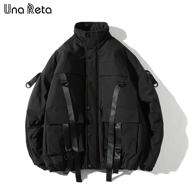 Una Reta Winter Jacket Coats Men New Casual Windbreaker Jackets Mens   Parka   Plus size Hip hop Bandage design Coats Man Streetwear