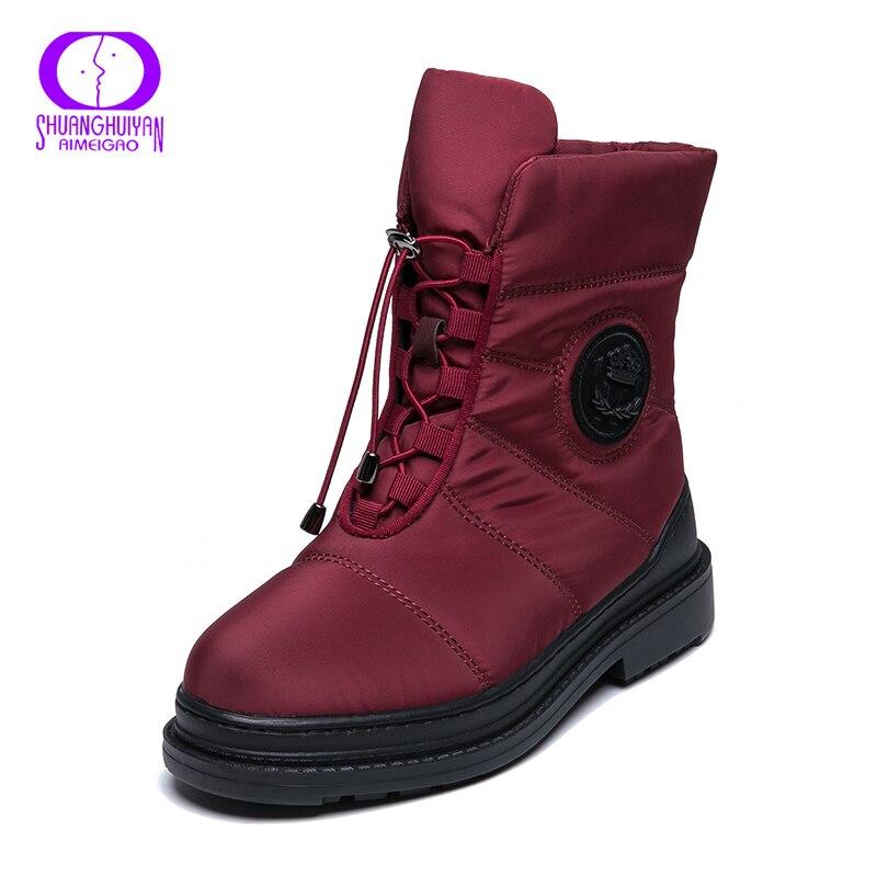 0f2f2ffcfab AIMEIGAO High Quality Warm Fur Snow Boots Women Plush Insole Waterproof Boots  Platform Heels Red Black Winter Women Boots