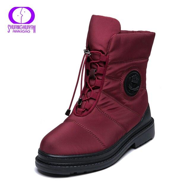 AIMEIGAO คุณภาพสูง Warm Snow รองเท้าผู้หญิง Plush พื้นรองเท้ารองเท้ากันน้ำแพลตฟอร์มส้นสูงสีแดงสีดำฤดูหนาวรองเท้าผู้หญิง