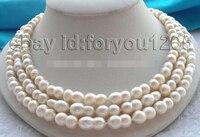 Бесплатная доставка> @ 1541 3 ряда натуральный 14 мм близнецов белый жемчуг Цепочки и ожерелья