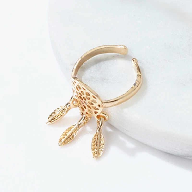 Quente versão coreana moda oco pena anéis de abertura ajustável ouro/prata cor dreamcatcher anéis para o presente das meninas do sexo feminino
