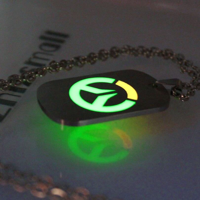Overwatch necklace glowing Necklace Pendants Overwatch keyChain Fashion Jewelry Pendant glow in the dark women men necklace