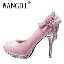 2017 New Fashion Sexy Women Silver Rhinestone Wedding Shoes Platform Pumps Red Bottom High Heels Crystal Shoes Gold Black Pink