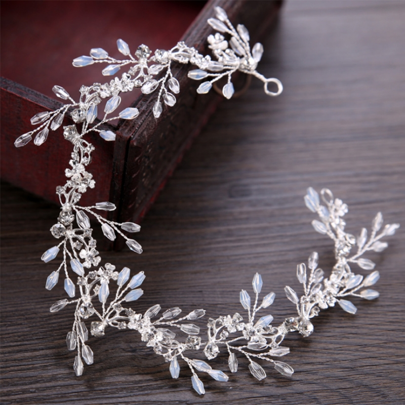 Bride Hair Band White Crytal Headband Wedding Bridal Accessories Tiara Ornaments ...