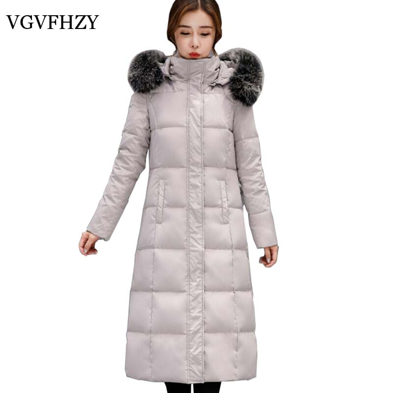 Winter Large Raccoon Fur Removable Collar Long Thicken   Down   Jackets hooded Warm Snow Outerwear   Down     Coats   Parkas LY599