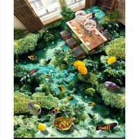 3D wall sticker Clear sea creatures Bathroom Floor bathroom floor painting kitchen balcony PVC Wall paper Self adhesive Floor