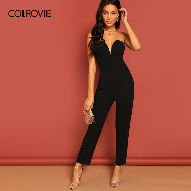594b8e8b3ae4 Detail Feedback Questions about COLROVIE Black Zip Back Sweetheart Neck  Strapless Tube Elegant Jumpsuit Women 2019 Spring Sleeveless Ladies Sexy  Jumpsuits ...