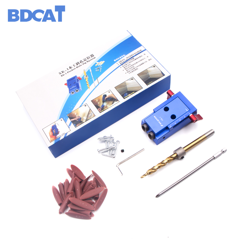 BDCAT Pocket Hole Jig Kit System For Wood Working & Joinery + Step Drill Bit & Accessories Wood Work Tool Set With Box sunbeam 91612 14 durant 14 piece cutlery set with pine wood red