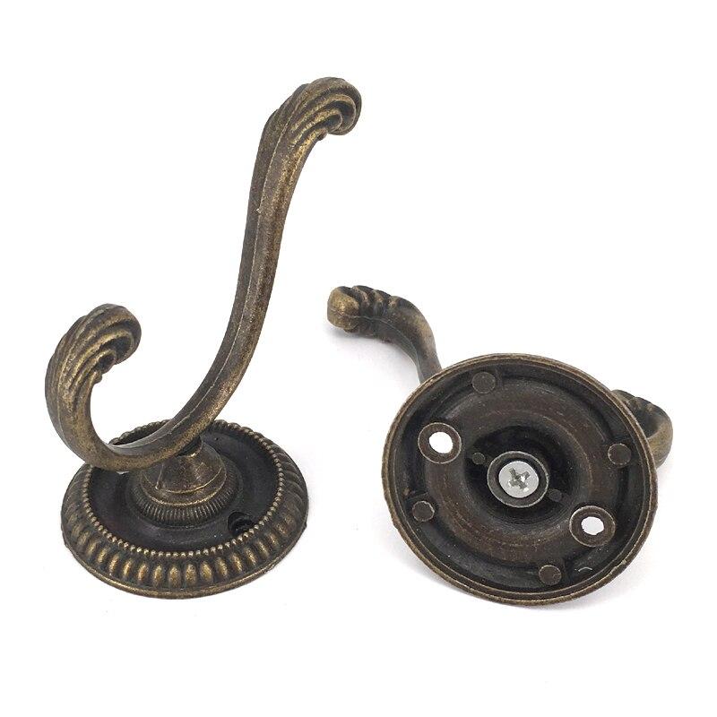 5PCS 77*61mm Antique Metal Hooks Clothes Coat Bag Hat Key Wall Hanger Door Hook