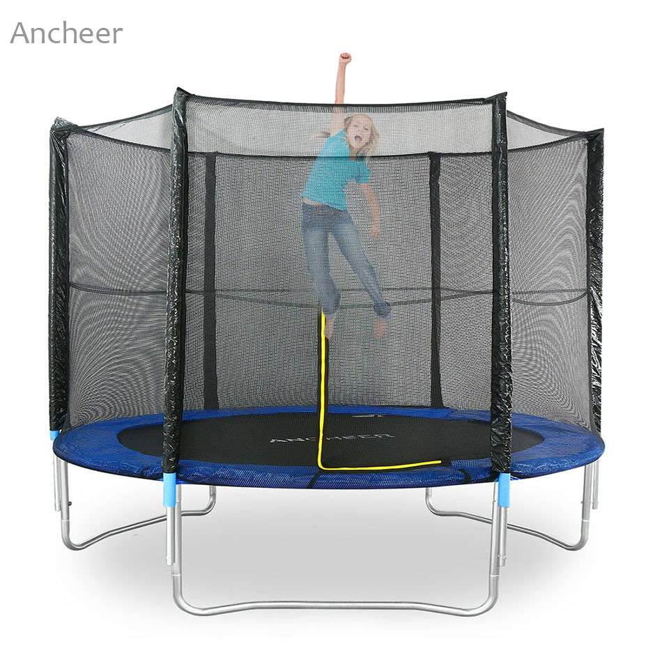 New Ancheer Outdoor Garden Fitness Trampoline With Safety Net Ladder 8FT Jumper Gymnastic Fun Exercise Rebound Fitness Equipment new durable 9 rung 16 5 feet 5m agility ladder for soccer and football speed training with carry bag fitness equipment ea14