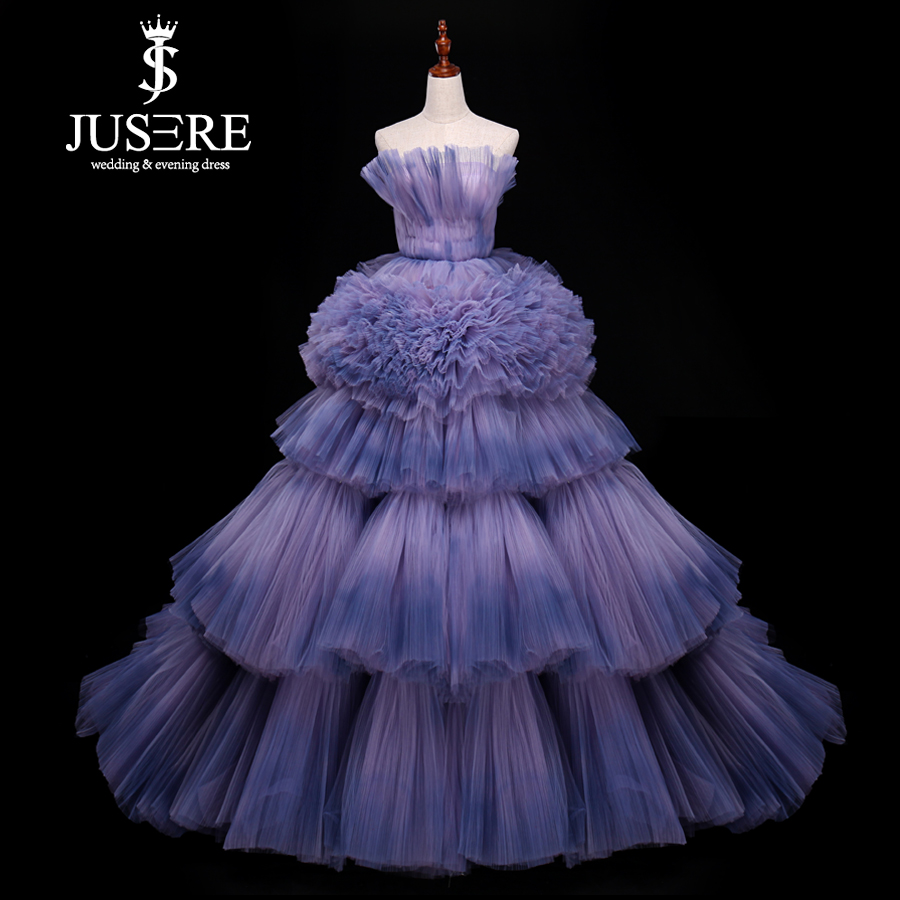 Jusere Real Photos Tired Tutu Prom   Dresses   Colorful Faded Tulle   Evening     Dress   With Tail robe de soiree 2019
