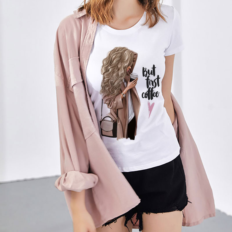 Graphic Top Women Clothes 2019 Summer T Shirt But First Coffee Harajuku Letter Printed Female Tshirt Leisure Streetwear T-shirt