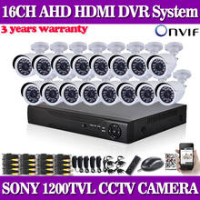 HD SONY CCTV security system 16 channel 1080P 720p AHDL DVR kit 16*1200TVL CCD video surveillance security camera system NO HDD