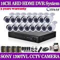 Hd sony sistema de seguridad cctv de 16 canales 1080 p 720 p ahdl kit DVR 16 * 1200TVL CCD video vigilancia sistema de cámaras de seguridad NO HDD