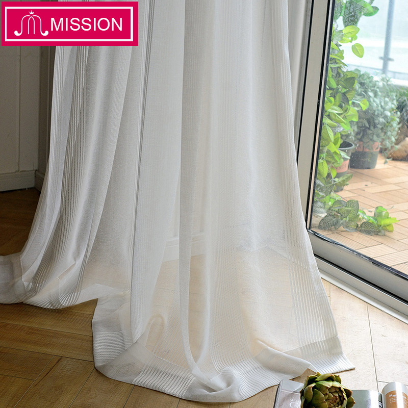 MISSION Decorative Semi Striped White Sheer Curtain Tulle Voile Panel Window Curtain for Living Room Bedroom Door Custom Made in Curtains from Home Garden