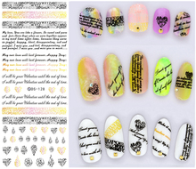 DS128 New Water Transfer Nails Art Sticker English Letter Little Element Nail Wrap Sticker Tips Manicura Nail Foil Transfer